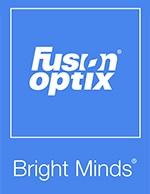 Fusion Optix Logo (white on blue with Bright Minds)